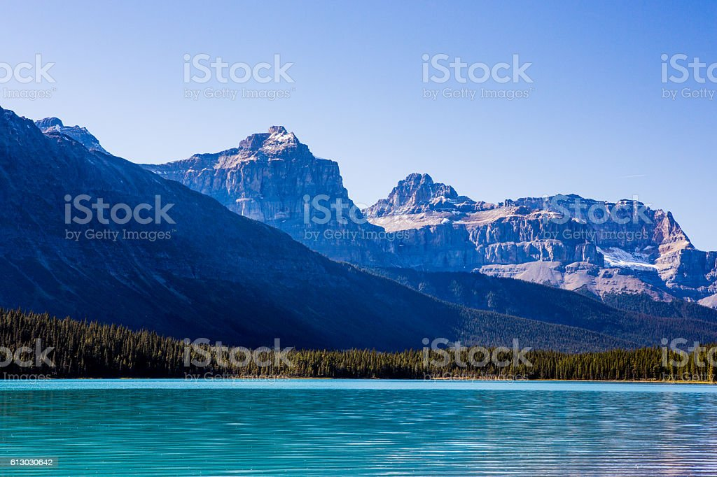 Sunwapta Lake, Jasper National Park in Alberta, Canada stock photo