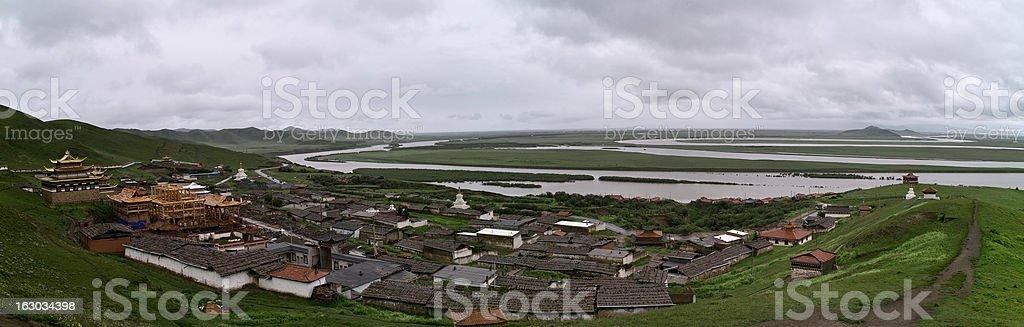 Suokezang Temple and yellow river (huang he) royalty-free stock photo