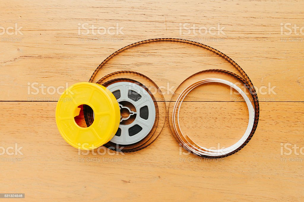 Super 8 film reel with cover stock photo