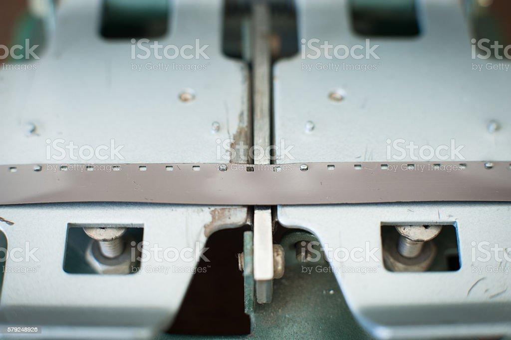 Super 8 movie editing splicer close up stock photo