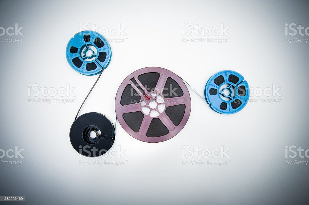 super 8mm different reels connected with film stock photo
