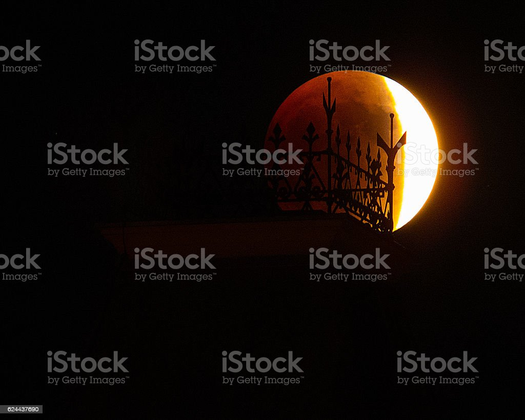 Super Blood Moon Behind Tombstone Courthouse Spires stock photo