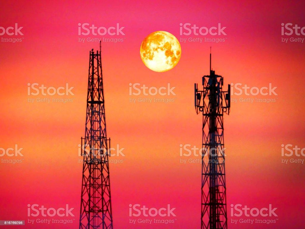 super blood moon between signal pillar in eveing light