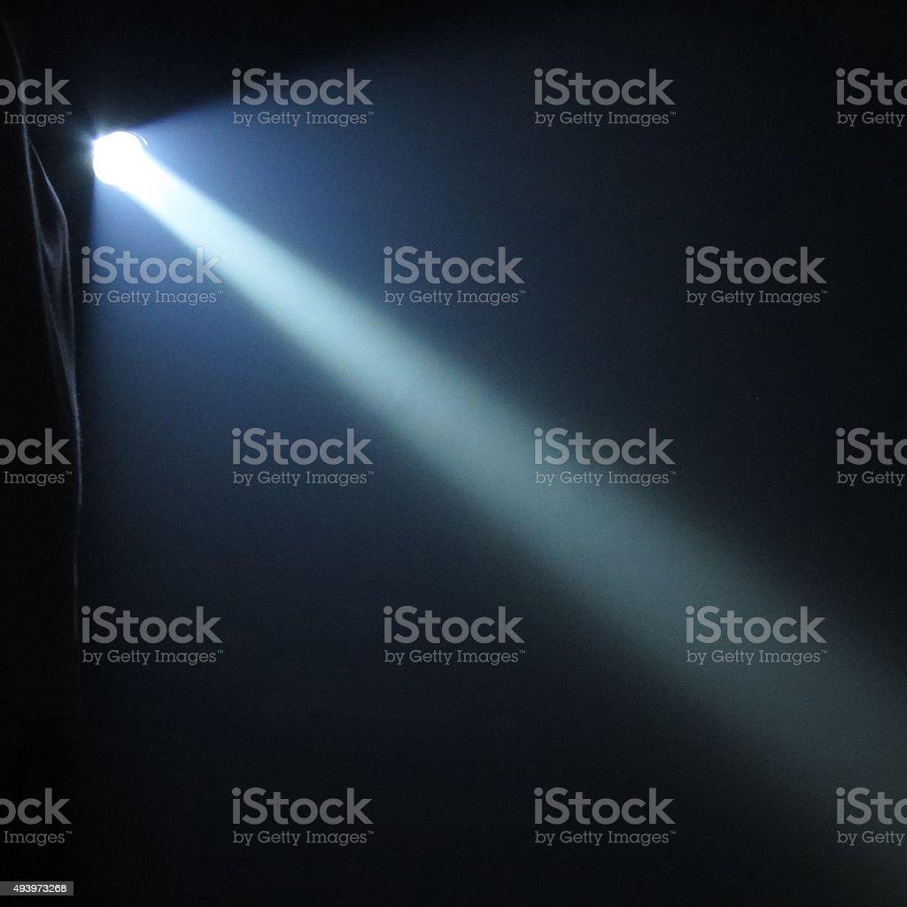 Super Bright Flashlight at Night stock photo