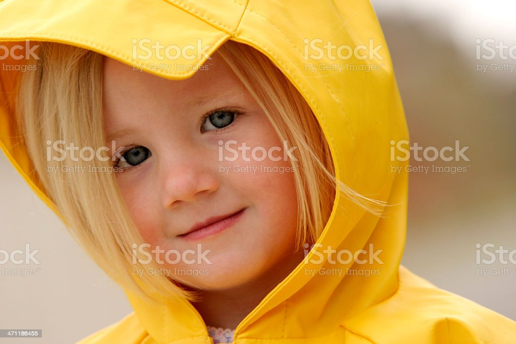 Super cute young girl in the rain royalty-free stock photo