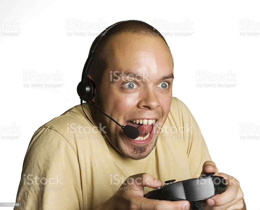 Super Excited Gamer royalty-free stock photo