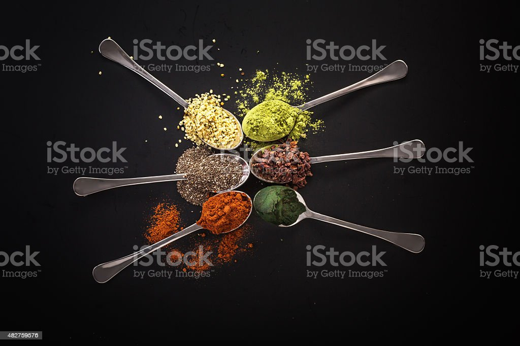Super food health food selection in spoon stock photo
