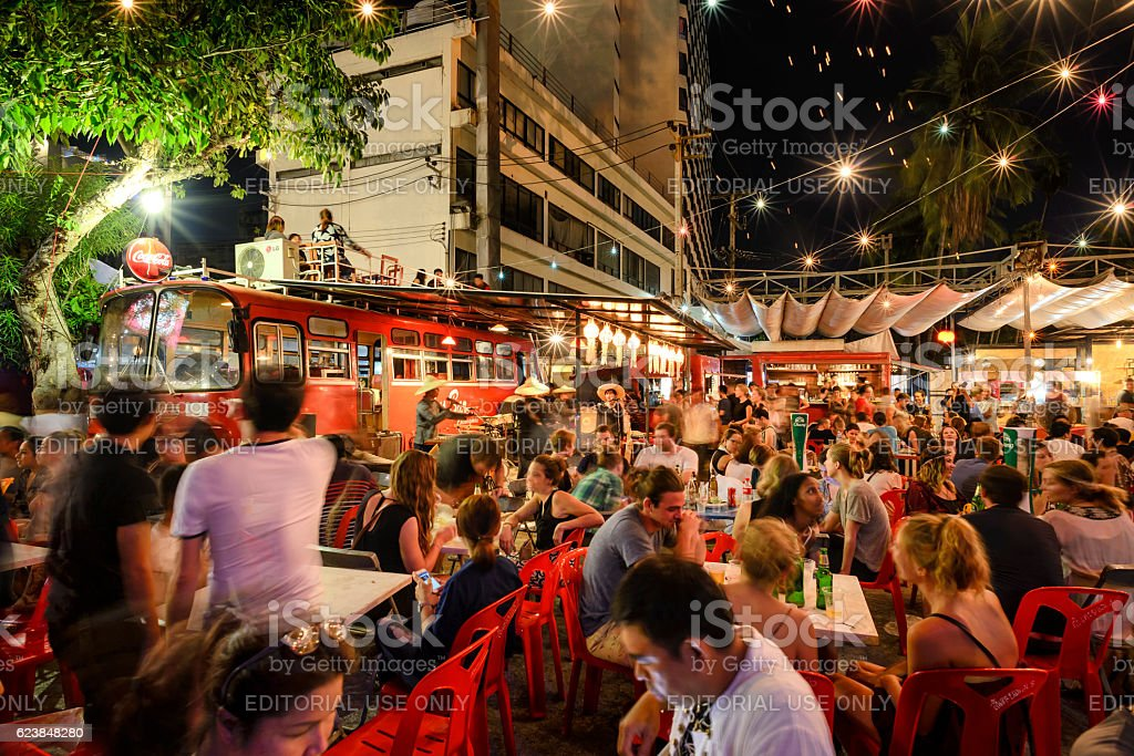 Super fullmoon Loi-Krathong festival stock photo