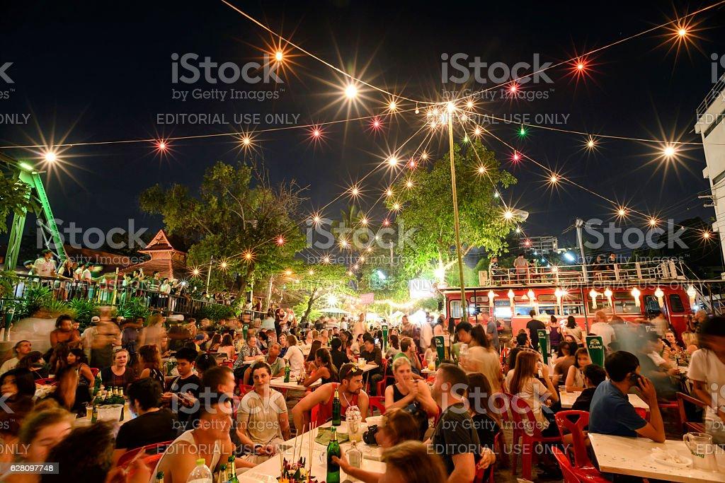 Super fullmoon Loi-Krathong festival stock photo