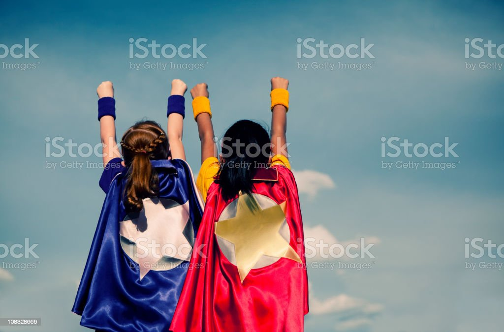 Super Girl Duo royalty-free stock photo