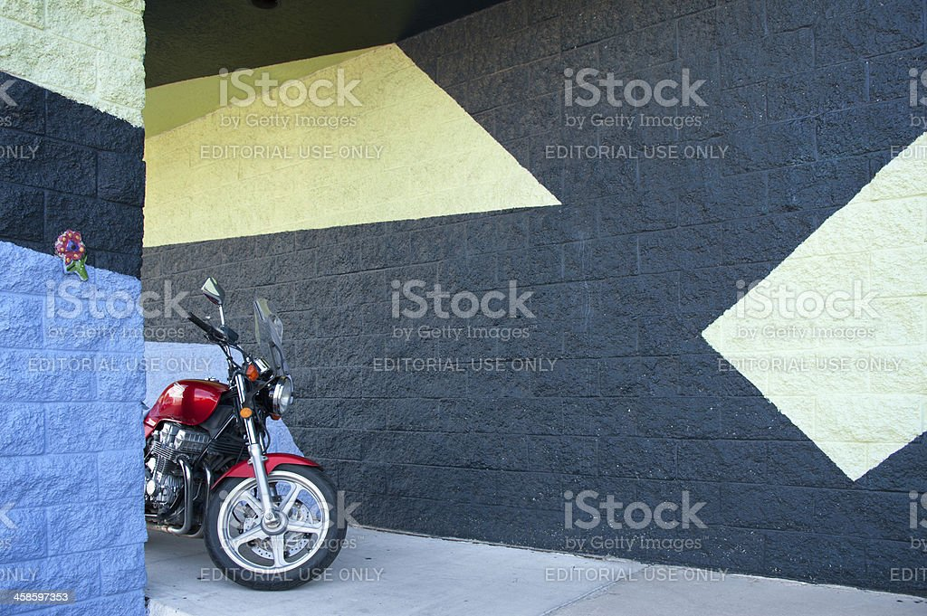 Super Graphic Style Geometric Mural, Commercial Building Walls, Modern Motorcycle stock photo