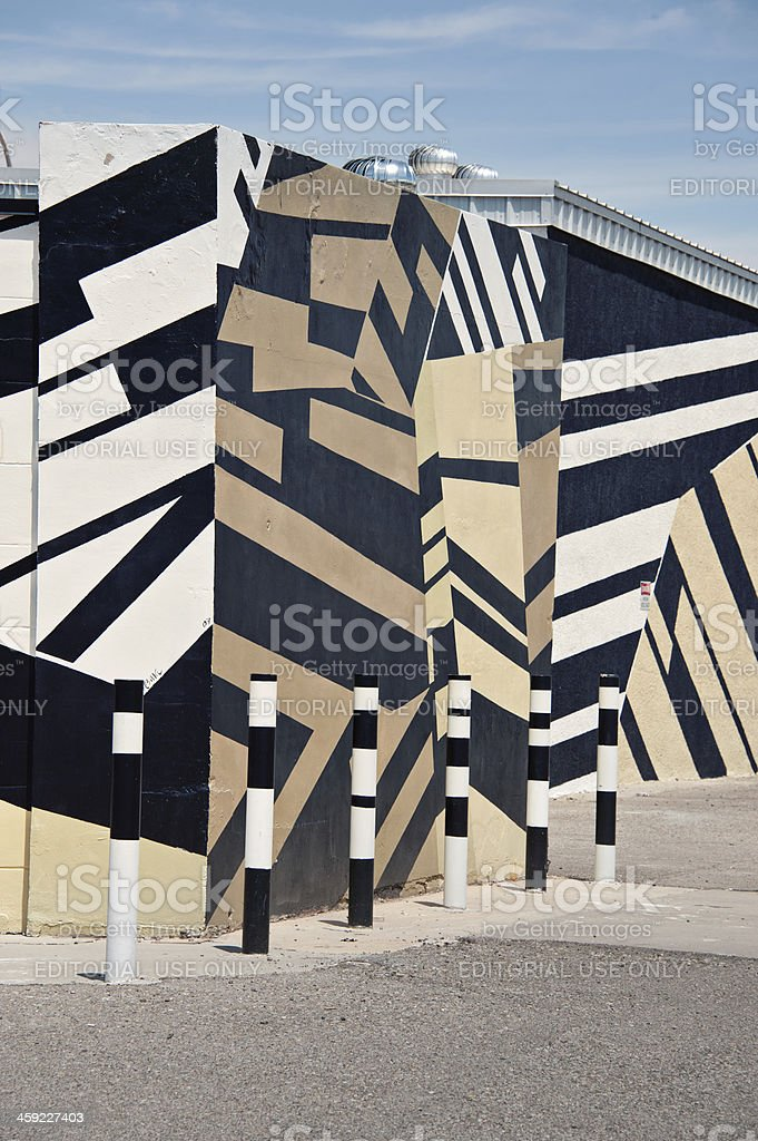 Super Graphic Style Geometric Mural on Commercial Building Walls stock photo
