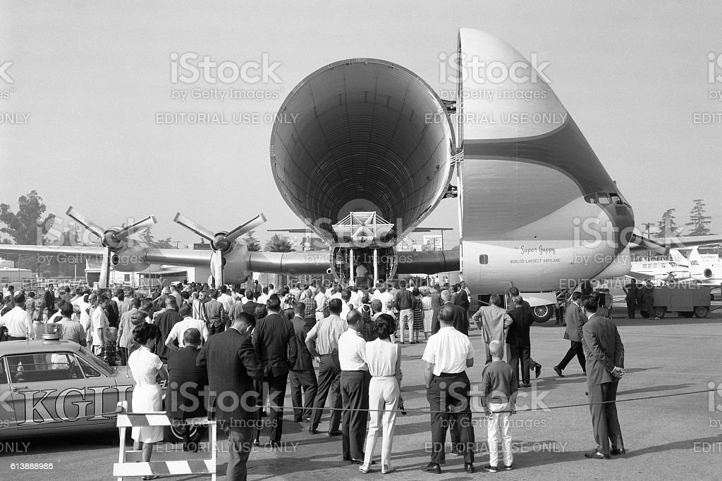Super Guppy airplane at Van Nuys airport 1965 stock photo