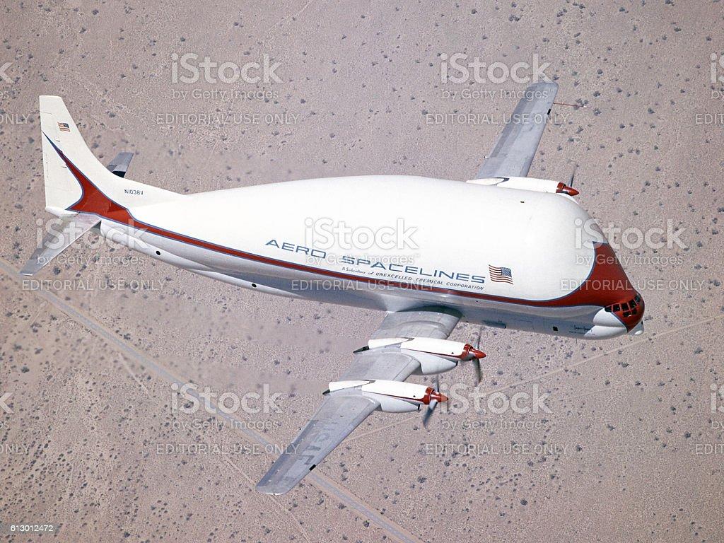 Super Guppy in flight 1965 stock photo