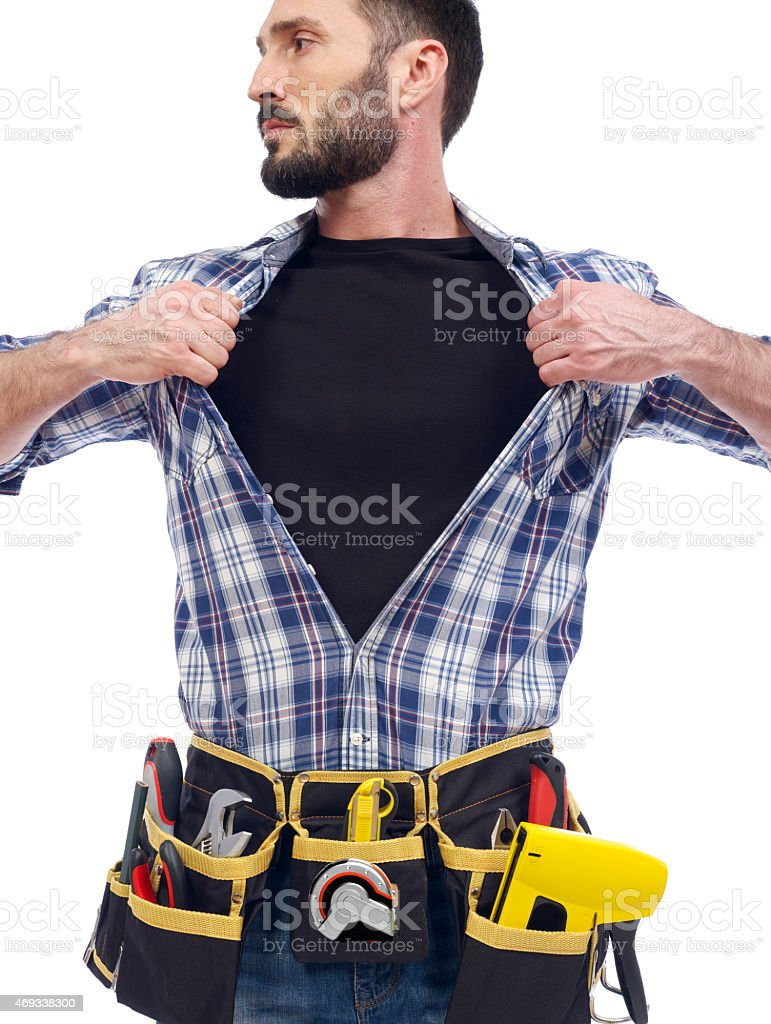 A super handyman with a tool belt stock photo