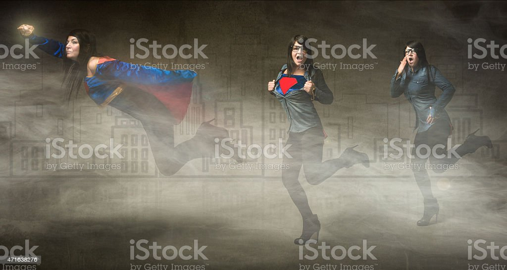 super hero concept for an attractive woman stock photo
