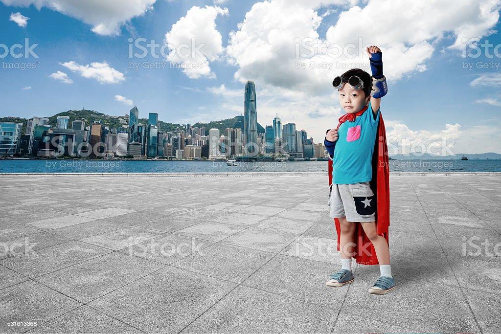 Super hero in Hongkong stock photo