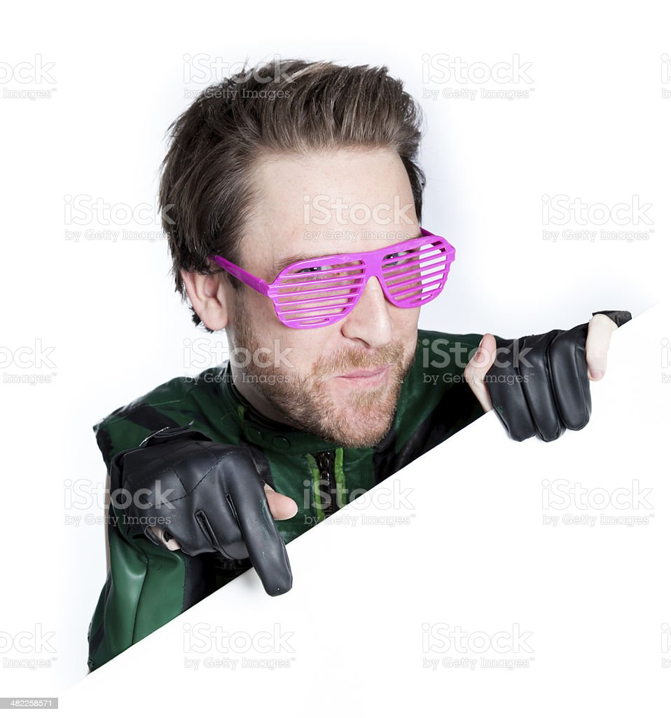 super hero isolated on white at edge of the page royalty-free stock photo