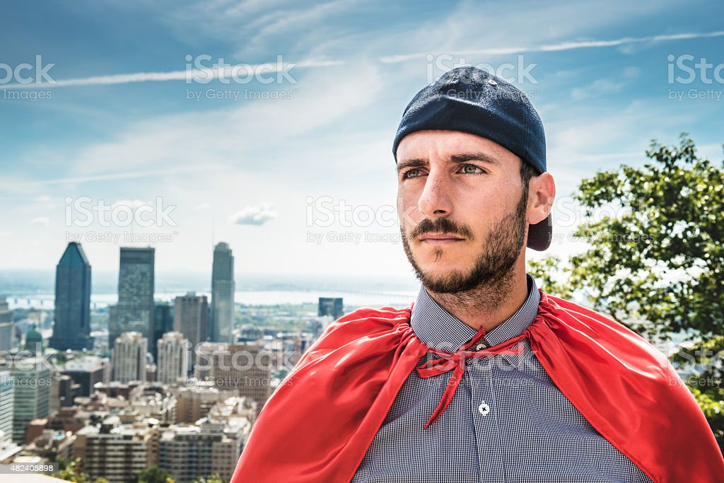 Super hero looking forward in montreal stock photo