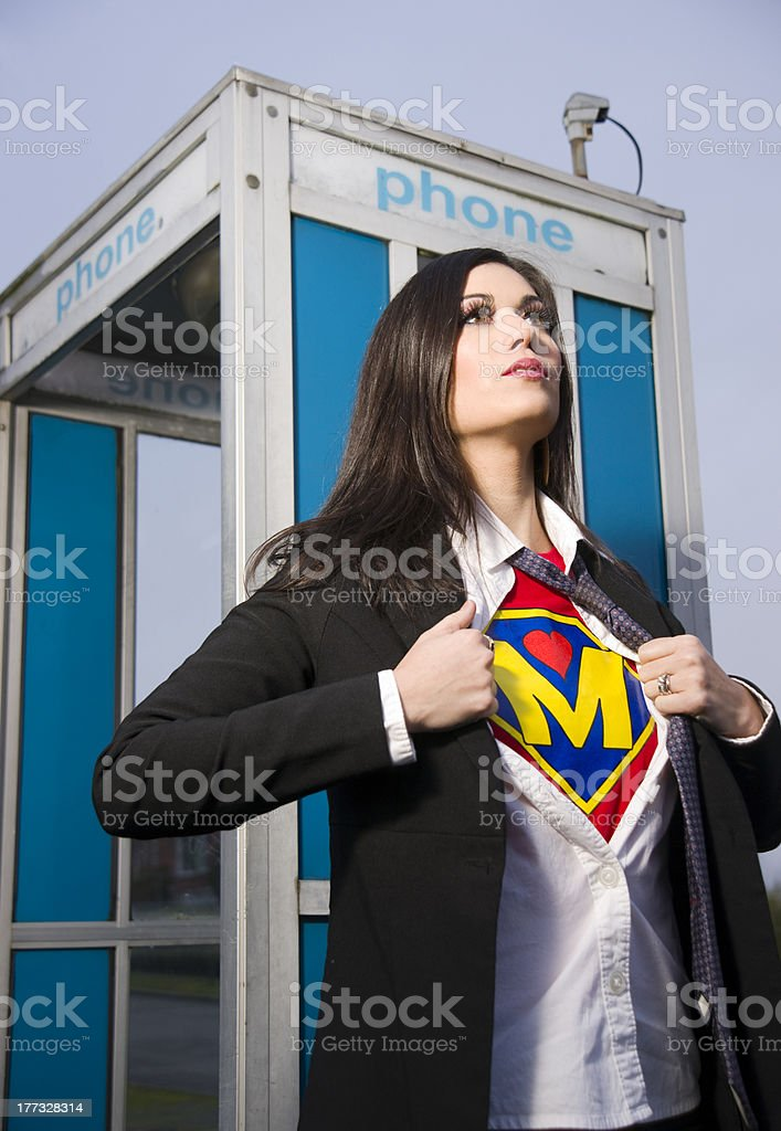 Super Hero Momma Female Phone Booth Chick Change Superhero Mother stock photo