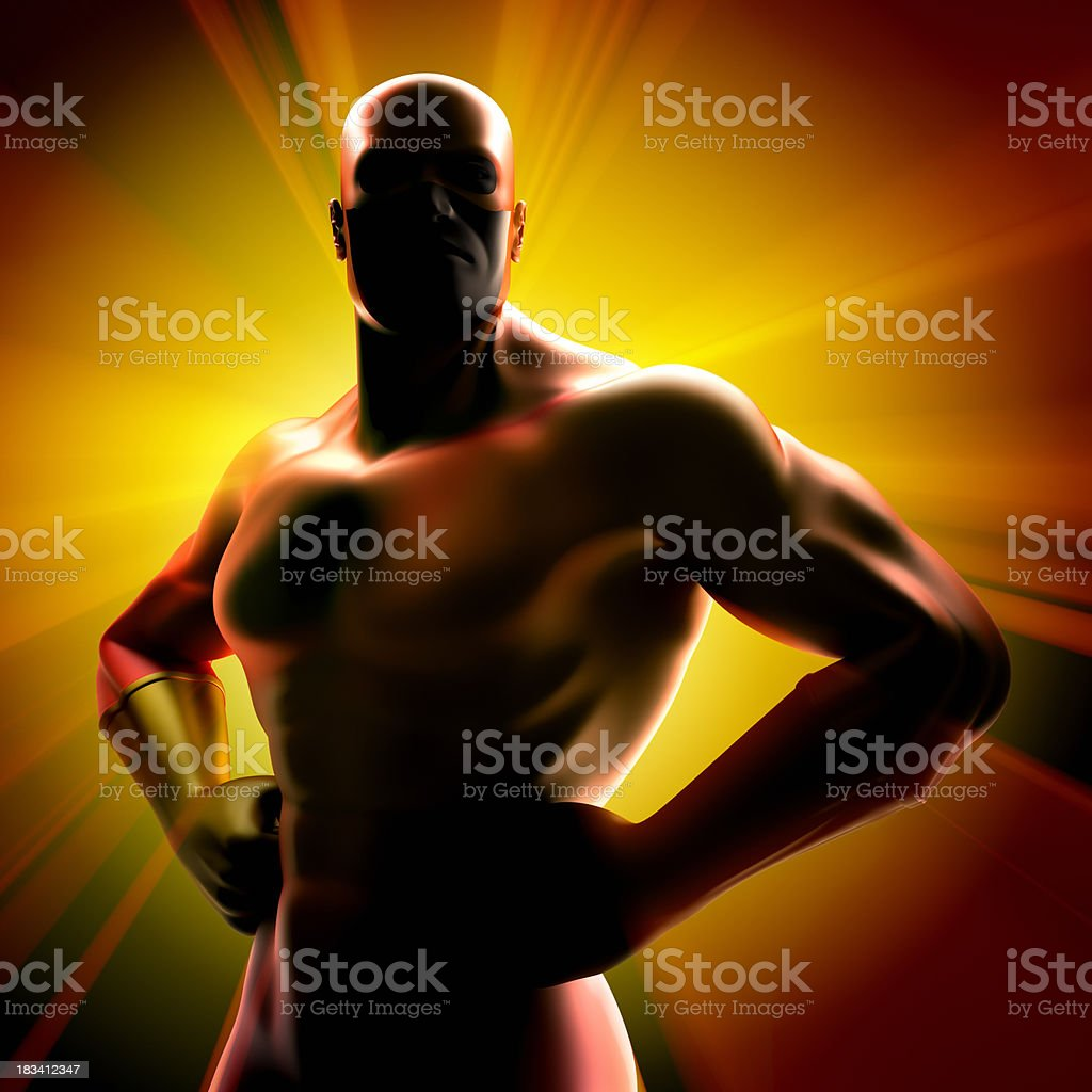 Super hero - silhouette stock photo