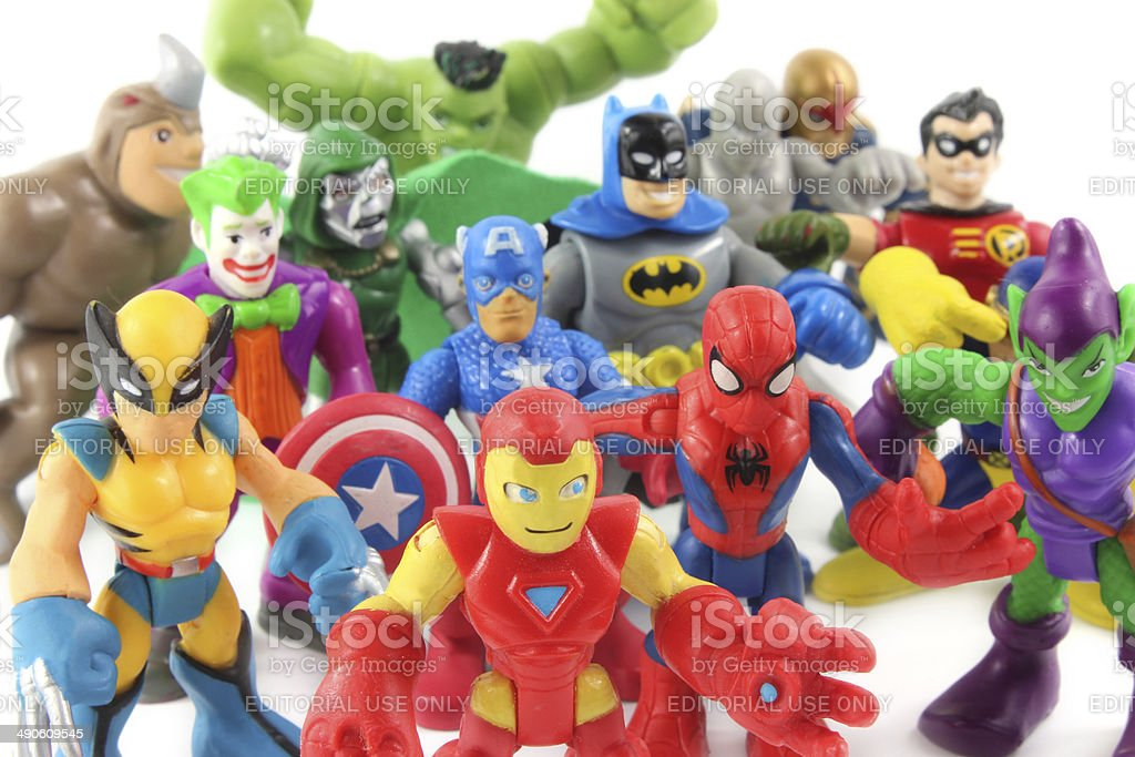 Super Hero Squad toys figurines by Hasbro stock photo