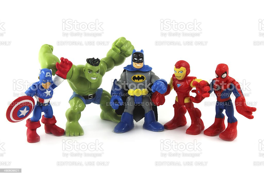 Super Hero Squad toys figurines Marvel Comics stock photo