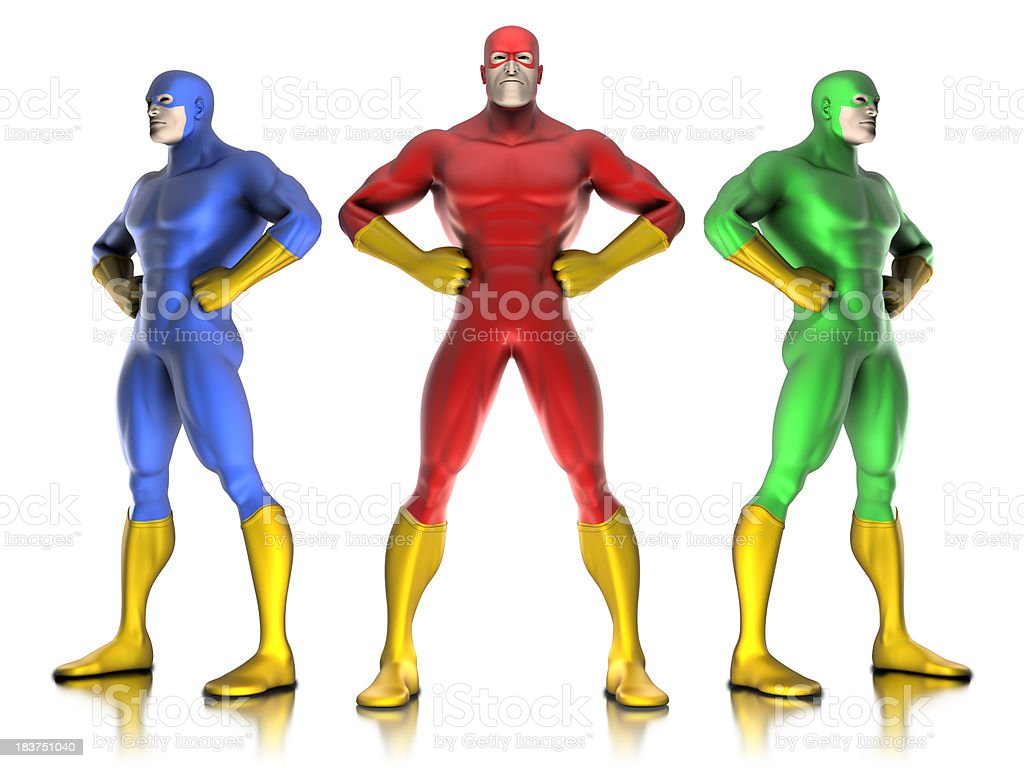 Super hero team - isolated on white with clipping path stock photo
