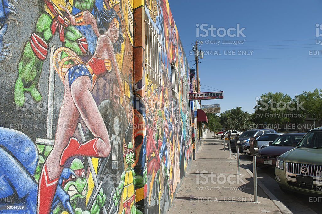 Super Heros Street Mural stock photo
