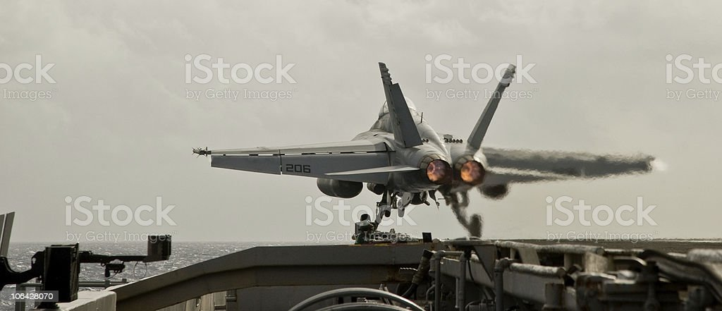 F/A-18F Super Hornet catapult launch stock photo