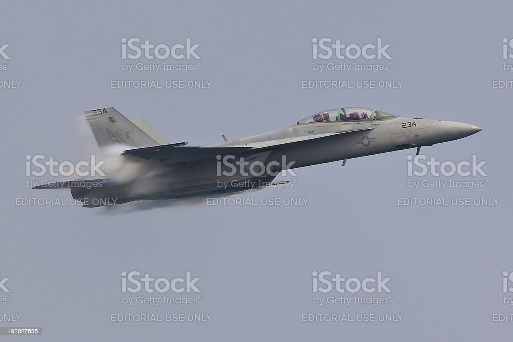 F-18 Super Hornet performing high speed pass stock photo