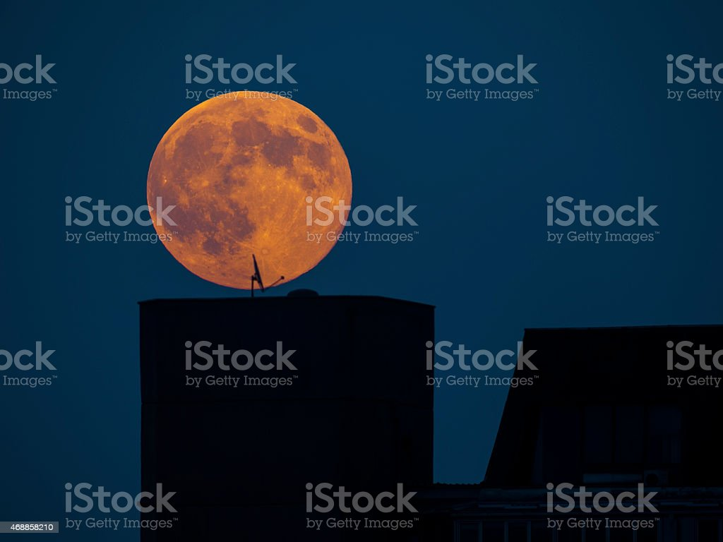 Super Moon Above the City stock photo