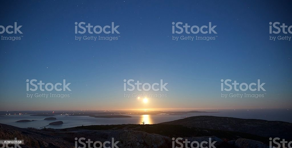 Super Moon and Stars over Cadillac Mountain stock photo