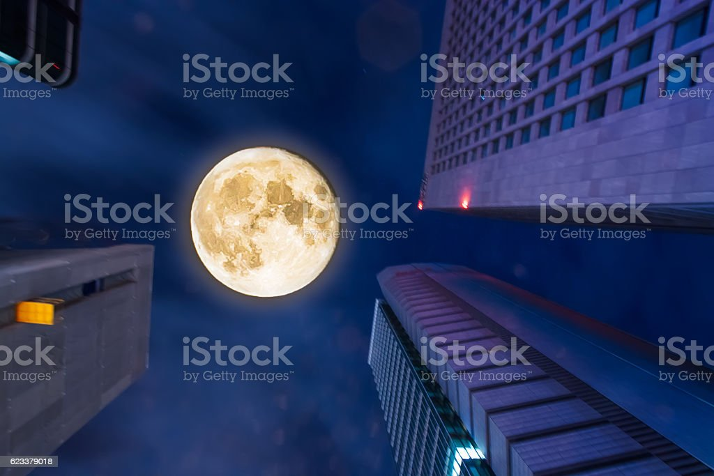 Super Moon and Tokyo Buildings stock photo