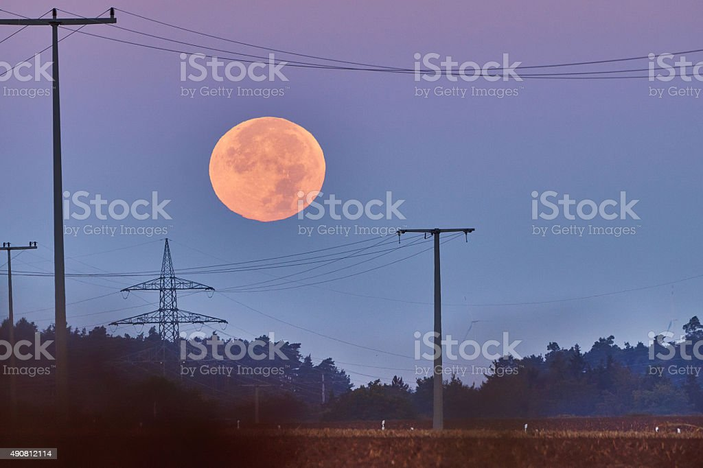 Super Moon at the Morning stock photo