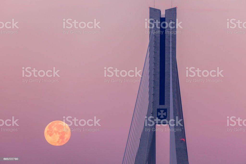 Super moon by Tadeusz Mazowiecki Bridge in Rzeszow stock photo