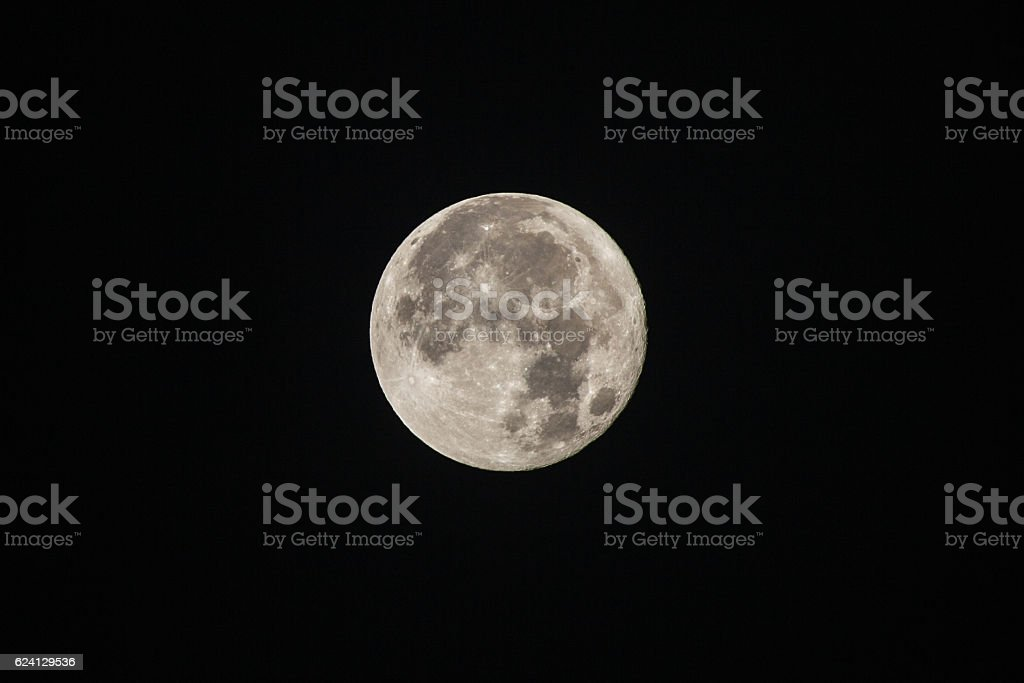 Super Moon, isolated on black, as shot stock photo