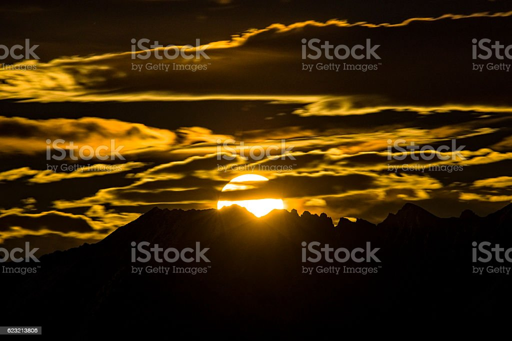 Super Moon Rising Over Gore Range Mountains stock photo