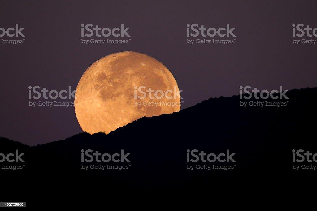 Super Moon Setting stock photo