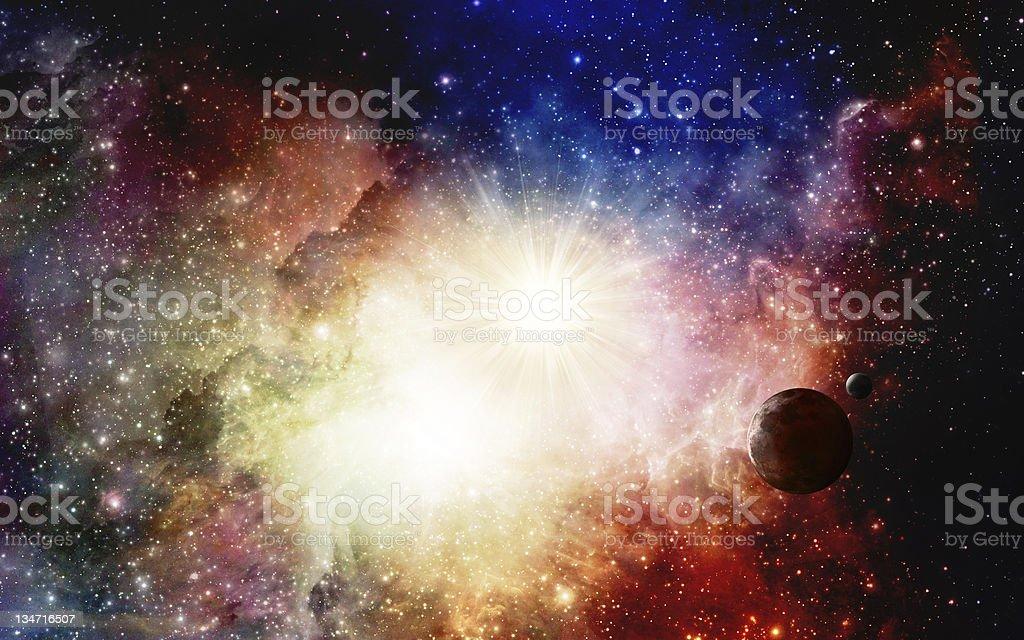 Super nova with planet stock photo