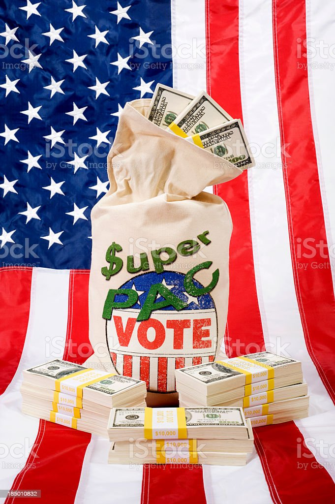 Super PAC -Flag stock photo