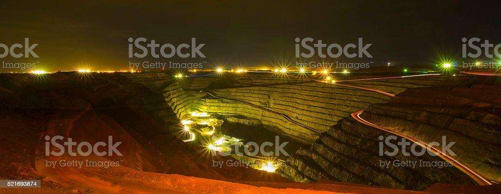 Super pit under lights stock photo