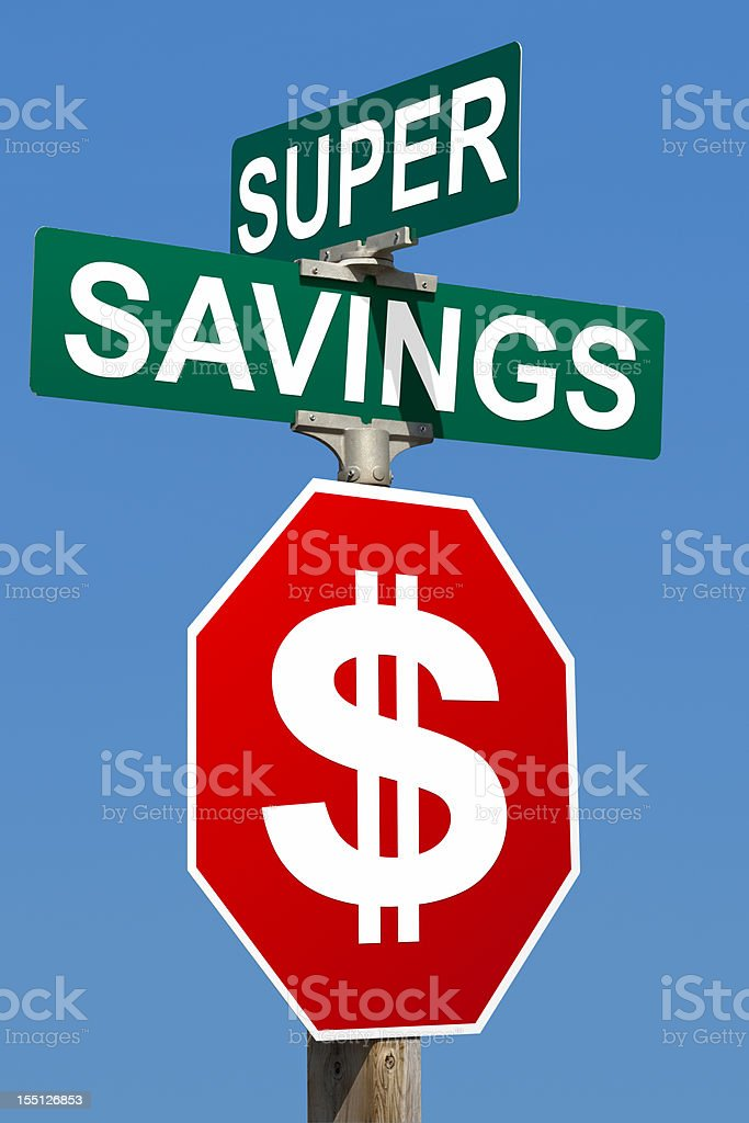 Super Savings Street Sign royalty-free stock photo