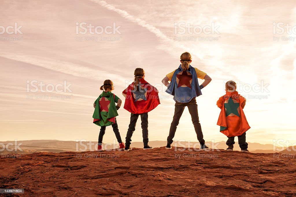 Super Siblings stock photo