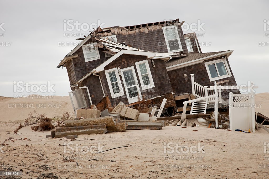 Super Storm Sandy devastation stock photo