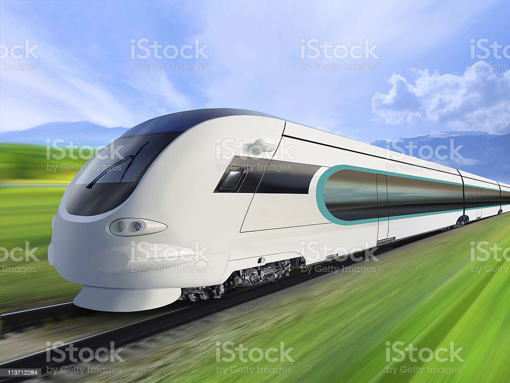 super streamlined train stock photo