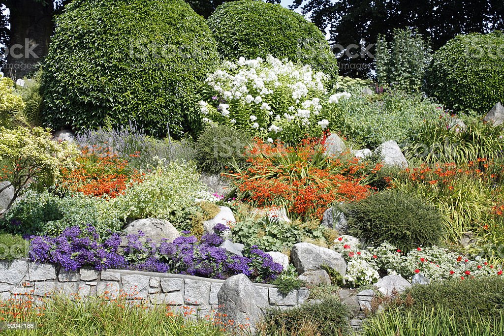 super summer park garden with rocks and neatly trimmed bushes stock photo