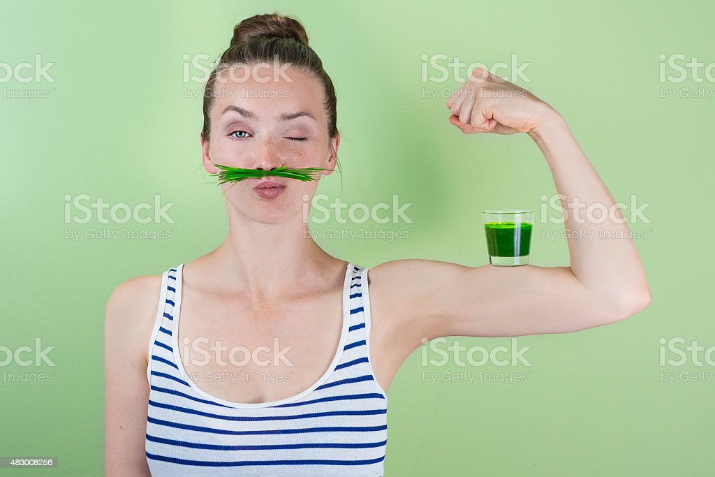 Super wheat grass power! stock photo