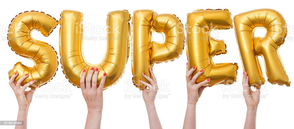 Super word made from gold balloons stock photo