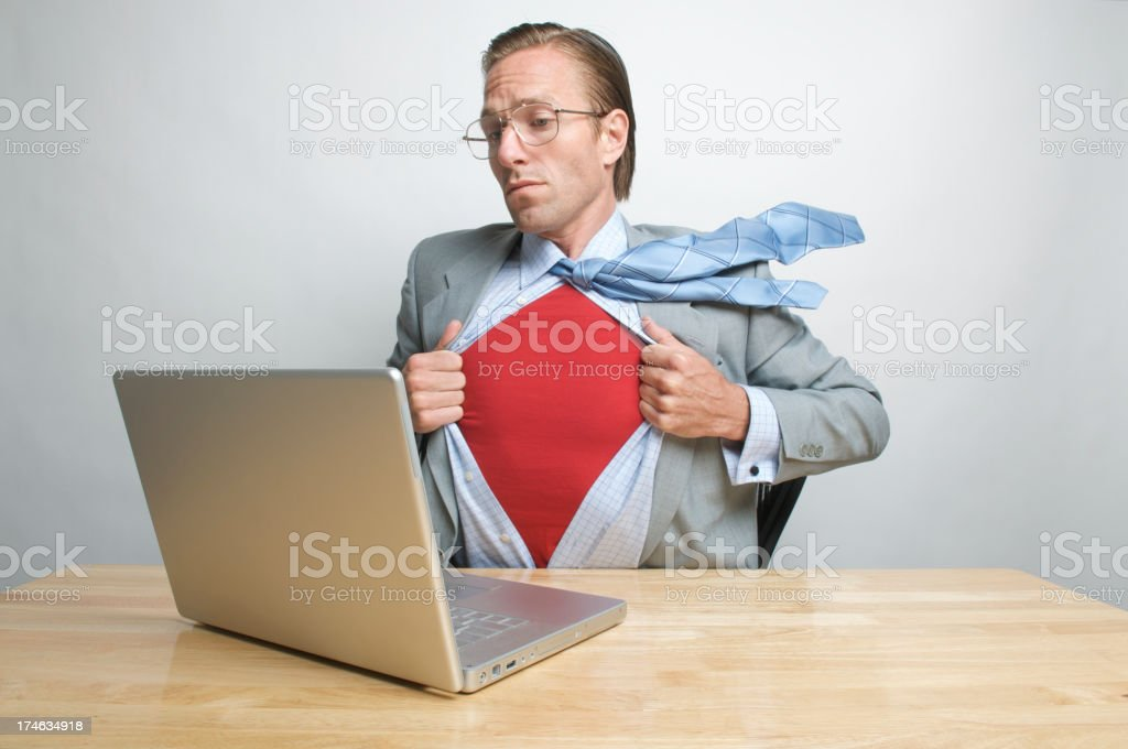 Super Worker Superhero Businessman to the Desk Rescue royalty-free stock photo
